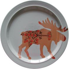 Thrift store plates with silhouette painted on.