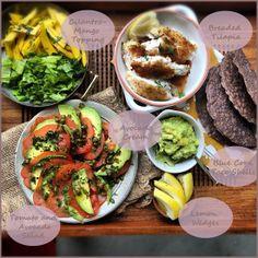 The Ultimate Fish Taco Bar: Cilantro-Mango Salsa, Avocado Cream,  Tomato and Avocado Salsa. YUM!