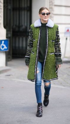 Olivia Palermo seen in the streets of Paris after the Moncler show during the Paris Fashion Week Womenswear Spring/Summer 2018 on October 3 2017 in...