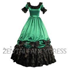 Green And Black Multi Ruffles Bouble Layer Victorian Lolita Dress Short Sleeves