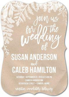 Rustic Ferns - Signature White Wedding Invitations in Maple or Flint   Sarah Hawkins Designs #ad