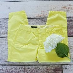 J.Crew scout chino lemon pulp yellow 100% cotton City fit, low rise, 26 inch inseam, machine wash.  In inches, laying flat: waist 15.75, front rise 8.25 J. Crew Pants Capris