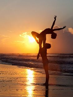 Acro dance before the sunset Passion and beautiful nature in a nice composition