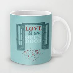 frozen, love is an open door Mug by studiomarshallarts - $15.00