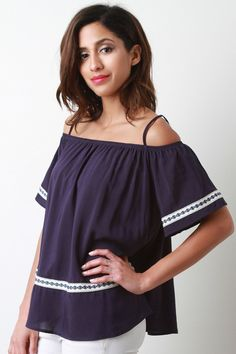 Short Sleeve Off Shoulder Peasant Top