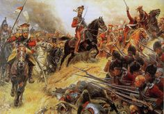 Polish lancer unit attacking a British Square formation and Waterloo.