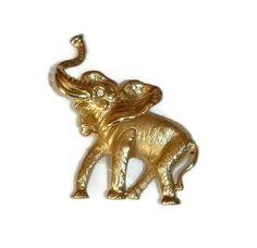 Vintage Elephant Brooch Signed Napier Gold by PopcornVintageByTann