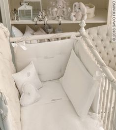 The cots by Savio Firmino in an authentic, original design welcome the Blumarine Baby kits of bed linen, bedcover and bumper which feature embroidered roses and Swarovski crystals