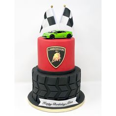 Lamborghini cake - Car World Lamborghini Cake, Ferrari Cake, Huracan Lamborghini, Lamborghini Diablo, Car Cakes For Boys, Race Car Cakes, Race Car Birthday, Cars Birthday Parties, 2nd Birthday