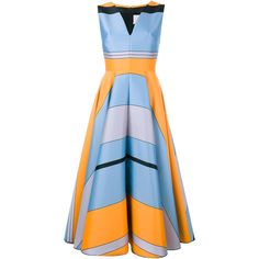 Roksanda Lovell Printed Cotton-Blend Midi Dress ($400) ❤ liked on Polyvore featuring dresses, evening dresses, v neck dress, blue cocktail dresses, blue dress and summer midi dresses