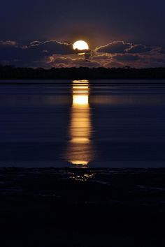 .This is so beautiful with the reflection of the moon on the water. Very peaceful,