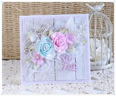 Scrap Art by Lady E: Romantic Birthday Card / Romantycznie na Urodziny Romantic Birthday Cards, Birthday Cards For Women, Shabby Chic Cards, Paper Flower Tutorial, Cute Cards, Paper Flowers, Cardmaking, Paper Crafts, Cards