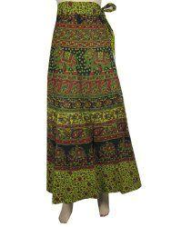 "Long Wrap Skirt Jaipuri Print Hippie Gypsy Sarong Bohemian Clothing- 40"" Length"