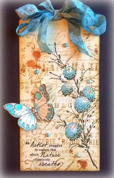 Tag - blue butterfly and floral - Wendy's Card Craft: Penny Black, Hero Arts and Tim Holtz...