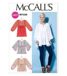 McCall Pattern M7325-0Y0 Misses' Gathered Tops and Tunic-XSM-SML-MED