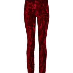 Haider Ackermann Madame skinny-leg velvet and leather trousers (€605) ❤ liked on Polyvore featuring pants, trousers, bottoms, haider ackermann, red, red velvet pants, real leather pants, velvet trousers, skinny leg pants and red leather pants