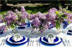 Royal blue and lavender table setting.
