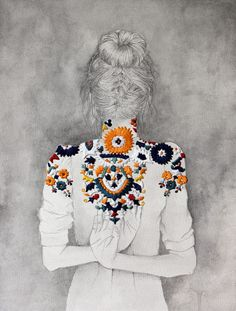 Embroidery over pencil drawings by Izziyana Suhaimi.