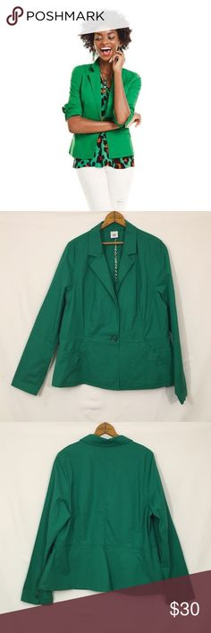 CAbi Verde jacket #5097 spring 2016 Color is most true in first photo; actual color will not photograph accurately. Minimal washed in the form of a very light color fade- please see close-ups in photo four. otherwise, no rips stains, flaws or additional wear present. Cotton, spandex. Unlined. Shoulder 17.5 bust 44 length 26 CAbi Jackets & Coats