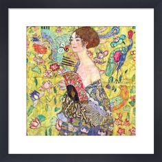 Lady with Fan Art Print by Gustav Klimt at King & McGaw