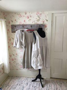 2d6295ef98 Linen Prairie Dress   Linen Pinafore   Linen Apron   Pouch Pocket   Garden  Apron