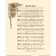 Image detail for -AS THE DEER 8 x 10 Antique Hymn Art Print on by VintageVerses