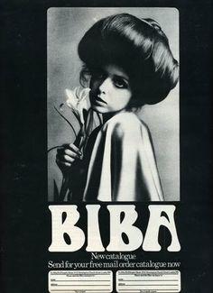 BIBA, iconic sixties London brand and boutique in Kensington created by Barbara Hulanicki, was a staple in the swinging London scene. Biba Fashion, Seventies Fashion, Vintage Fashion, Club Fashion, Cheap Fashion, London Fashion, Fashion Art, Fashion Women, Sarah Moon