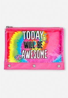 Today Will Be Awesome Tie Dye Pencil Case