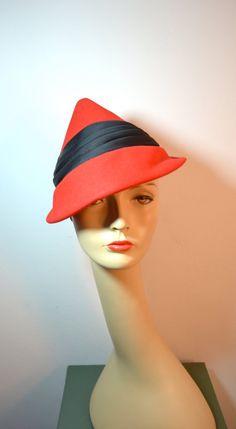 a2f876959ba 1930s Vintage Red and Black Conical Tilt Hat
