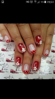 Nails Art French Rosso 51 Ideas For 2019 French Nails, Gel Nail Art, Acrylic Nails, Cute Nails, Pretty Nails, Flower Nail Art, Toe Nail Designs, Nagel Gel, Red Nails