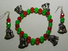 Dangle Red, Green Bell Earrings & Bracelet Set  301 by ritascraftsandmore on Etsy