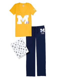 U of M v neck tee and pant gift set