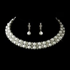 Opentip.com: Elegance by Carbonneau NE-724-AS-White Antique Silver White Pearl Coil Necklace & Earrings Bridal Jewelry Set 724