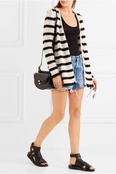 The Elder Statesman Mr Simple striped cashmere cardigan $895 Black and white cashmere  Slips on 100% cashmere Dry clean