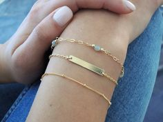 Delicate Gold Bracelet Set Everyday Dainty Gold by annikabella