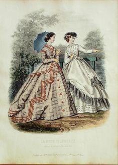 GRAVURE de MODE ANCIENNE-1865/34-LA MODE ILLUSTREE 24x36cm