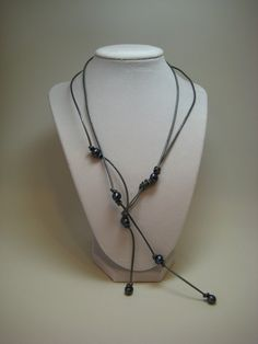 Pewter Gray Leather and Pearl Lariat Necklace by NancyHerrington, $55.00