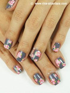 Vintage pink roses might be a good idea for a Valentine's Day mani. :)