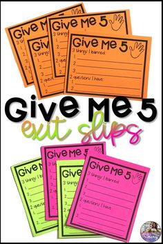 These Give Me 5 exit slips are great for comprehension and checking for understanding at the end of a lesson. Students write down three new things they learned as well as two questions they still have. Middle School Teachers, Middle School Science, Beginning Of School, 5th Grade Classroom, School Classroom, Classroom Ideas, Exit Slips, Elementary Education, Physical Education