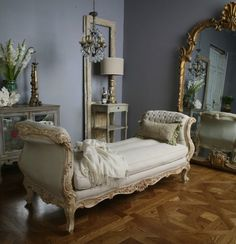 French inspired room. BIG MIRROR!