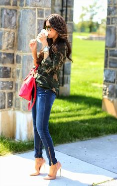 The Sweetest Thing Is Wearing Camo Button Down Shirt From Sanctuary, Denim Jeans, Nude Pumps From Christian Louboutin, Red Bag From Tory Burch And Sunglasses From Karen Walker