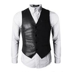 moda ocasional colete de couro pu homens Slim Fit preto marrom palhaço colete na Banggood