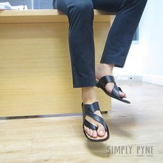 Mens leather sandals black handmade slides sandals by SimplyPyne