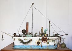 Graeme Altmann - Blue Researcher- Boat Sculpture