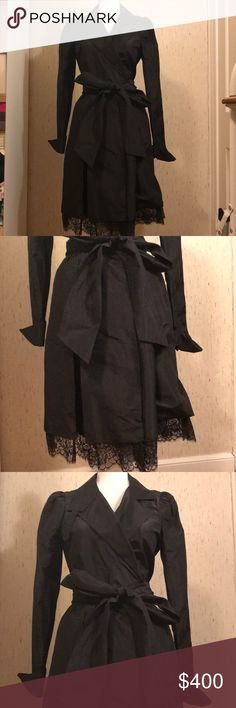 Diane von Furstenberg Victorian taffeta wrap dress Diane von Furstenberg Victorian style taffeta wrap dress with French cuffs and lace hem. EUC. No damages excellent condition. Worn once. Size 10. Color black. Price firm. No price haggling. Polite questions only for serious buyers.   DISCLAIMER: You buy it, you keep it! NO RETURNS!! I am not responsible for you changing your mind about your purchase, if you don't like what you received, or the size or color isn't right. If you want my items…