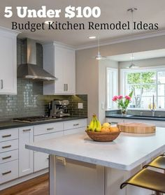 5 Under $100: Budget Kitchen Remodel Ideas - if you're looking to freshen up your kitchen without breaking the bank, here are 5 inexpensive remodeling projects under $100 each. Try one or all!