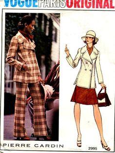 9fcb72b54b FREE US SHIP Vogue 2995 Vintage Retro 1960s 60s Designer Pierre Cardin Mod  Suit Jacket Skirt Pants Pantsuit Uncut Original Size 10