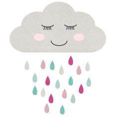 Muursticker wolk slaapt, pink - Sport & Fantasie | MuurstickersVoorKinderen.nl