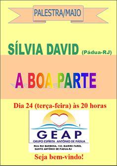 GEAP – Grupo Espírita Antonio de Pádua Convida para a sua Palestra Pública - Santo Antônio de Pádua – RJ - http://www.agendaespiritabrasil.com.br/2016/05/24/geap-grupo-espirita-antonio-de-padua-convida-para-sua-palestra-publica-santo-antonio-de-padua-rj-15/