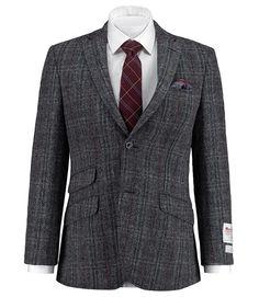 Men's Grey Harris Tweed Slim Fit Jacket - 100% Wool